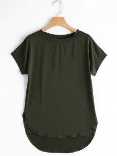 Round Collar Plain High Low Tee - Army Green S