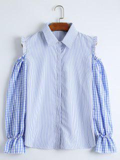 Chemise à Rayures à épaule à Froid - Bleu Xl