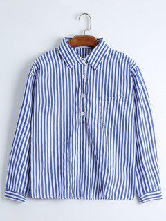 Drop Shoulder Striped Pocket Shirt - Blue Strip Pattern Xl