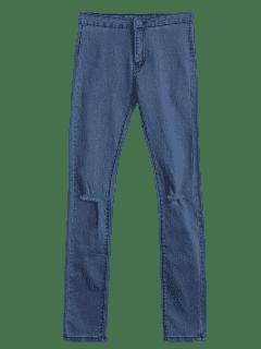 Jeans à Taille Haute - Denim Bleu M