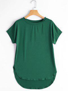 Round Collar Plain High Low Tee - Green M