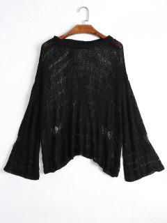 Drop Shoulder Hollow Out Knitted Top - Black