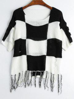 Ripped Tassels Checked Knitted Top - Black