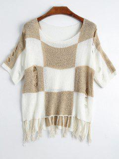 Ripped Tassels Checked Knitted Top - Apricot