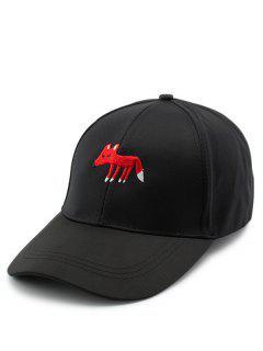 Cartoon Tiny Fox Embroidery Baseball Hat - Black