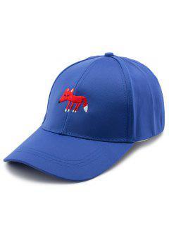 Cartoon Tiny Fox Embroidery Baseball Hat - Blue