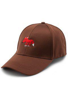 Cartoon Tiny Fox Embroidery Baseball Hat - Brown