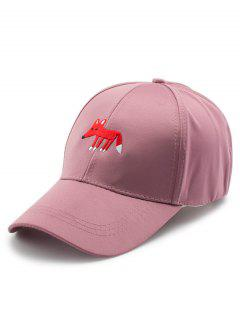 Cartoon Tiny Fox Embroidery Baseball Hat - Peony Pink