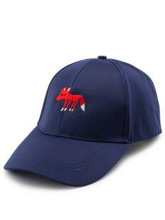 Cartoon Tiny Fox Embroidery Baseball Hat - Purplish Blue