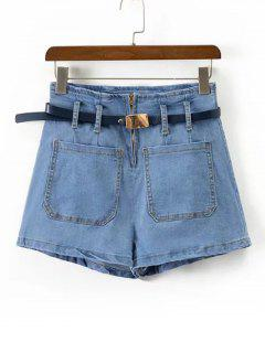 High Waisted Belted Denim Shorts - Denim Blue L