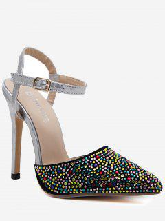 Slingback Fancy Coloured Diamond Pumps - Silver 40