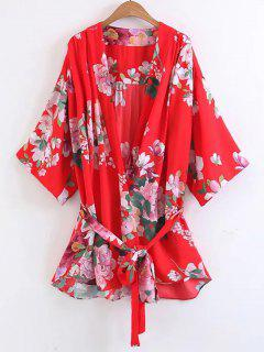 Long Belted Flower Kimono Blouse - Floral L