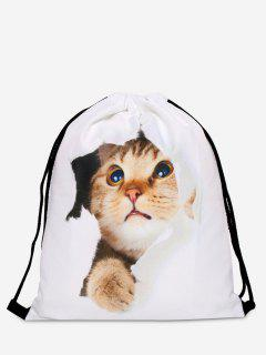 Polyester Cat Printed Drawstring Bag - White