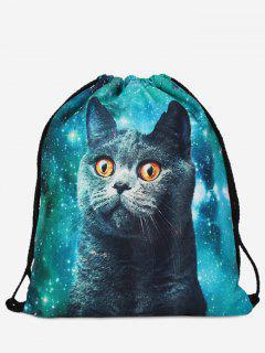 Polyester Cat Printed Drawstring Bag - Green