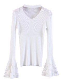 Flare Sleeve Faux Pearl Choker Sweater - White
