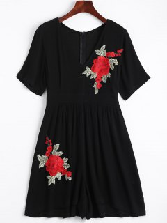 Flower Applique Cover-up Romper - Black Xl