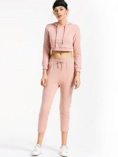 Sporty Drawstring Hoodie With Pants - Pink L