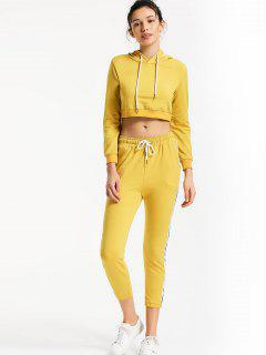 Sporty Drawstring Hoodie With Pants - Yellow M