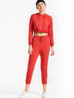 Sporty Drawstring Hoodie With Pants - Red M