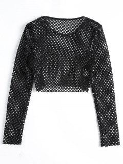 Fishnet Long Sleeve Crop Blouse - Black M