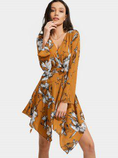 Floral Print Belted Asymmetric Dress - Floral L