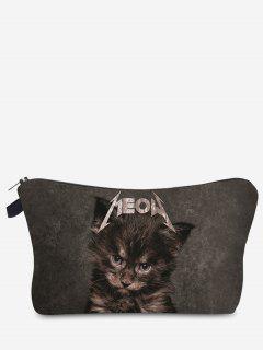 3D Cat Printed Makeup Bag - Gray