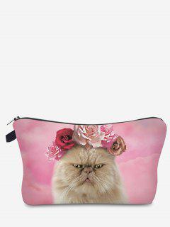 3D Cat Printed Makeup Bag - Pink