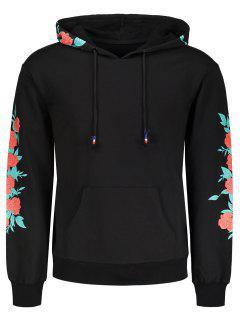 Pullover Floral Print Hoodie - Black 2xl