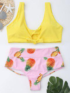 Pineapple Print High Waist Bralette Bikini Set - Yellow 2xl