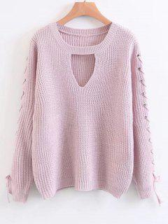 Lace Up Chunky Choker Sweater - Pink