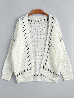 Open Front Hollow Out Cardigan - Off-white