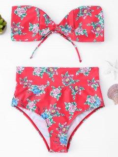 Floral High Waisted Bandeau Bikini Set - Rot S