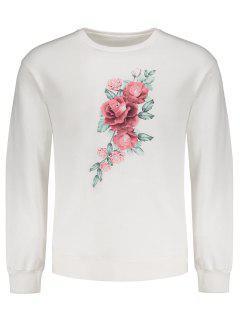 Pullover Floral Print Sweatshirt - White L