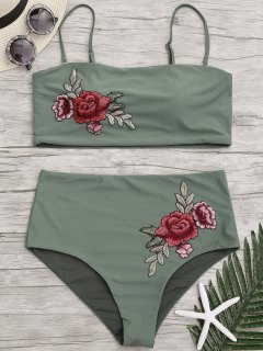Applique Plus Size High Waisted Bikini - Army Green 3xl