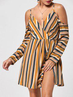 Cold Shoulder Striped Side Slit Dress - M