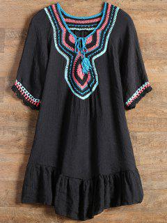 Ruffles Crochet Panel Cover Up Dress - Black