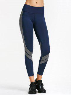 Two Tone Active Yoga Leggings - Purplish Blue L