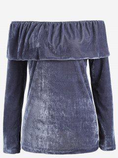 Aus Der Schulter Flounce Samt Bluse - Blaugrau S