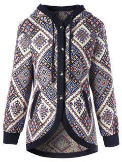 Drawstring Hooded Geometric Tunic Coat - L