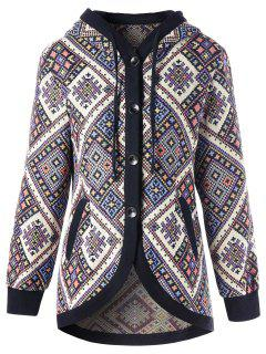 Drawstring Hooded Geometric Tunic Coat - Xl