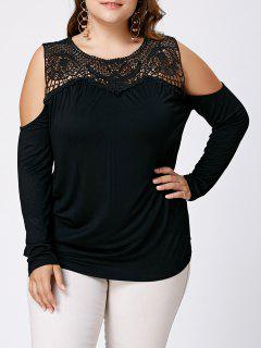 Hollow Out Plus Size Open Shoulder Top - Black 5xl