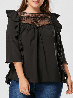 Side Ruffle Plus Size Mesh Insert Blouse - Black 3xl