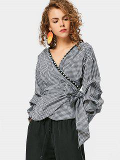 Checked Faux Pearl Wrap Blouse - Checked S