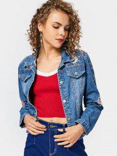 Chic Floral Embroidered Button Up Jean Jacket - Denim Blue M