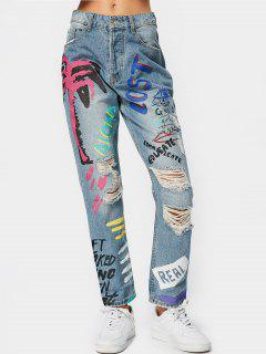 Destroyed Letter Graphic Tapered Jeans - Denim Blue S