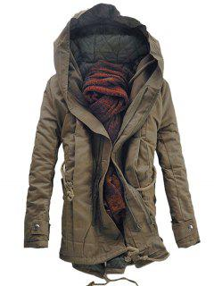 Hooded Double Zip Up Padded Parka Coat - Dark Khaki M