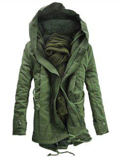 Hooded Double Zip Up Padded Parka Coat - Army Green M