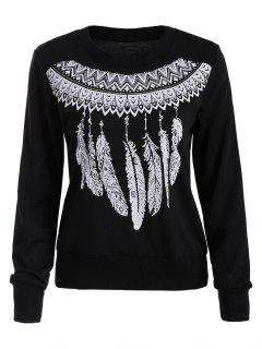 Feather Print Crew Neck Sweatshirt - Black M