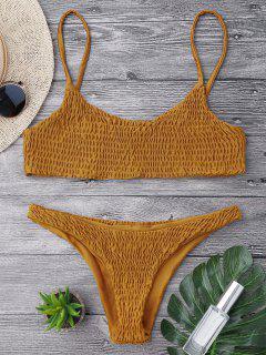 Smocked Bikini Top And Bottoms - Light Brown S