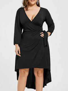 Plus Size Wrap High Low Dress - Black 3xl